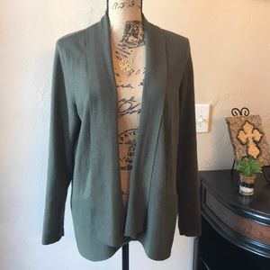 Chico's Olive Open Front Cardigan Sweater Sz 2